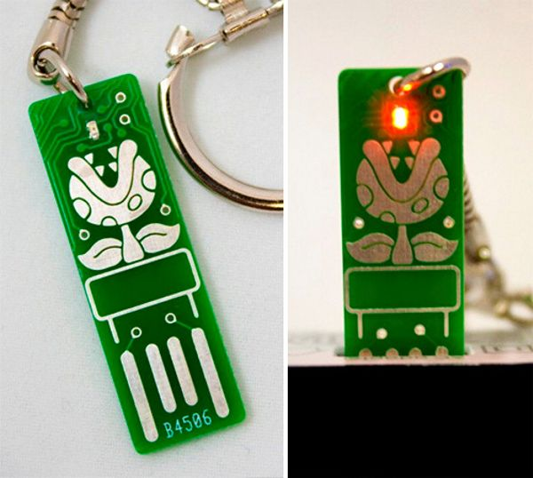 Light Up Circuit Board Keychain