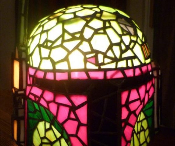 Boba Fett Stained Glass Lamp Hunts Down Gran Solo and Freezes her in Carbonite