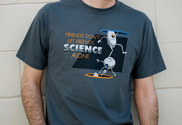 portal co op science t-shirt by ctrl alt del 2