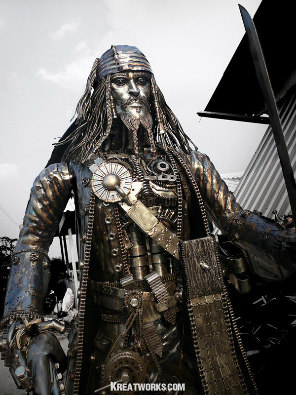 steampunk jack sparrow metal sculpture 1