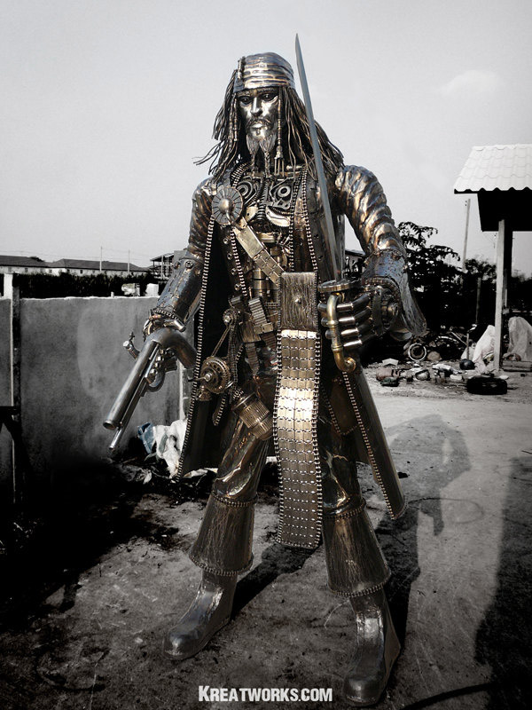 steampunk jack sparrow metal sculpture 2