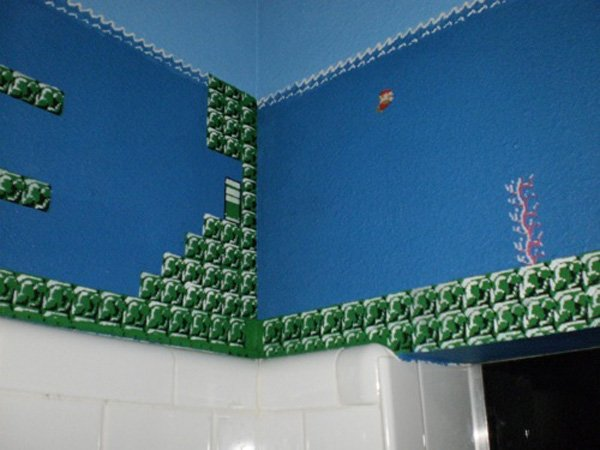 super mario bros themed bathroom by eisley