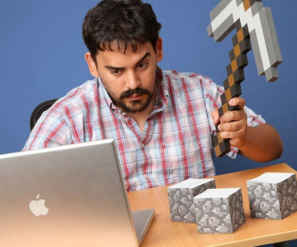 Foam Minecraft Axe and Sticky Notes for Pixel Pushers and Pencil Pushers