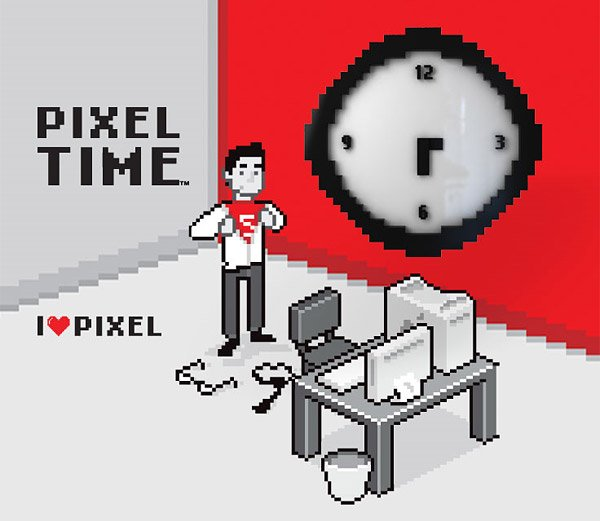 pixel time wall clock