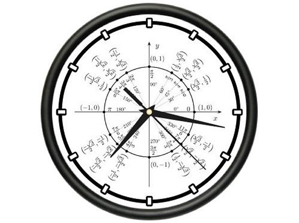Lovely unit circle radian trigonometry clock
