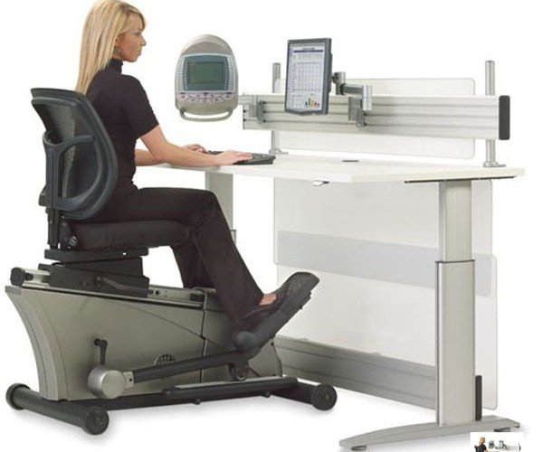 Hammacher Schlemmer Offers $8K Elliptical Workout Office Desk