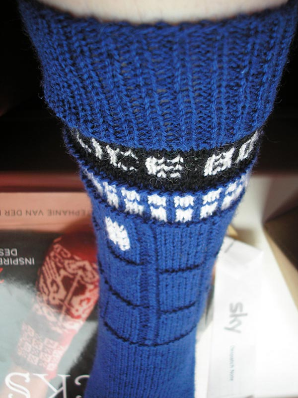 Knitting Pattern For Tardis Socks : TARDIS Socks: No Bigger on the Inside than Out, Still Bigger at the Calf than...