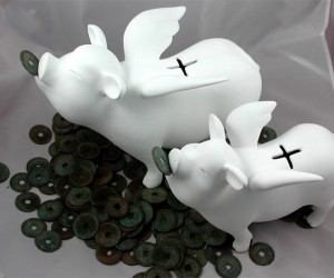 Flying Piggy Banks Accept All Currency