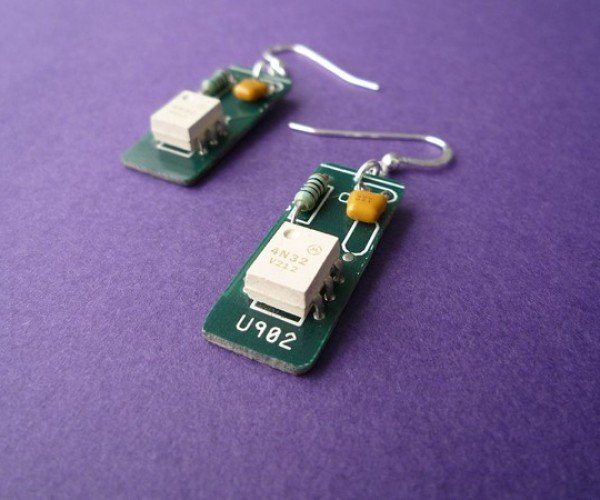 White Circuit Earrings Let You Flaunt Your Inner Geek