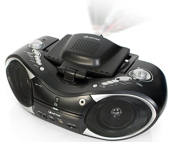 aiptek mobile cinema d20 boombox dvd player projector
