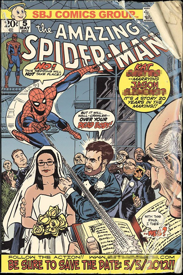amazing spiderman comic wedding save the date by jason clemons