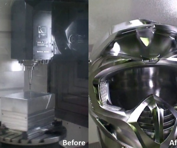 5-Axis Milling Machine Carves Helmet from Block of Solid Aluminum