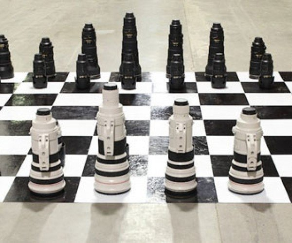 Chess Set Made from Camera Lenses: Canon f/2.8 to Nikon f/4, Check!