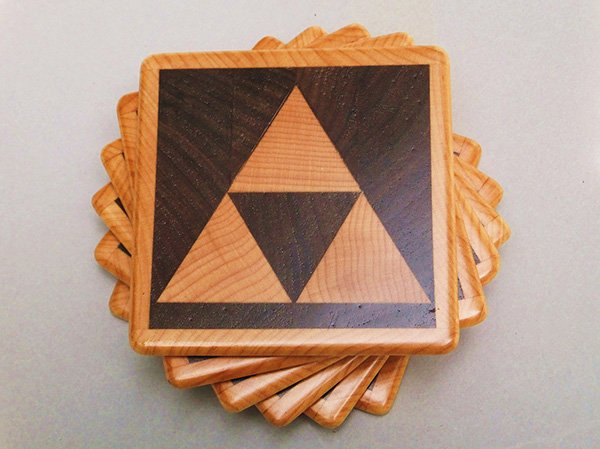 wood triforce coasters by 1337motif