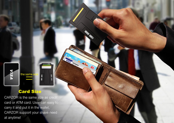 carzor razor credit card travel pocket mirror