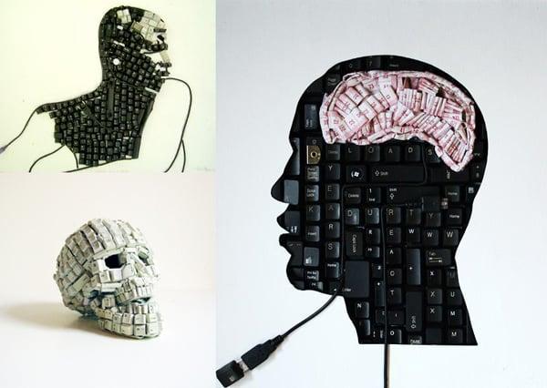 keyboard skulls maurice mbikayi art mixed media