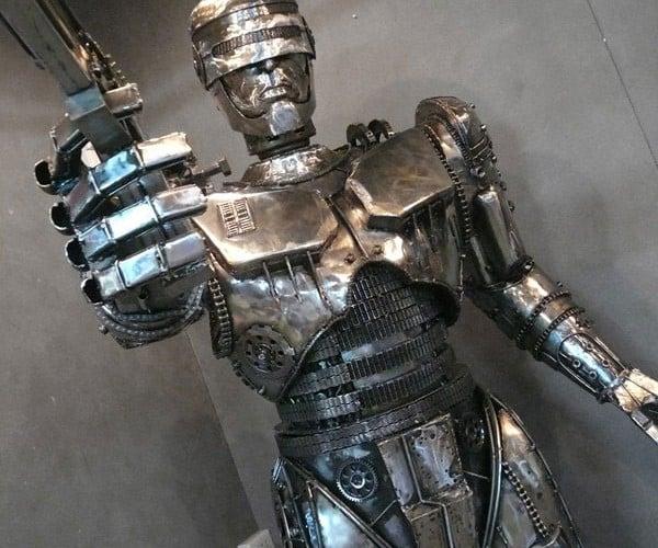 Steampunk Robocop Sculpture: Your Move, Creep!