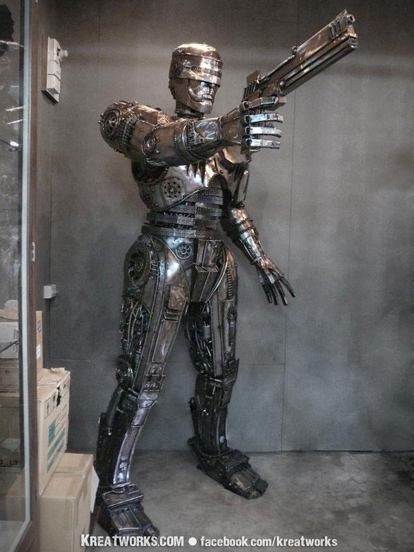 steampunk robocop kreatworks bangkok thailand sculpture