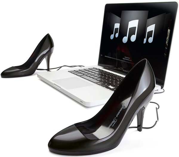 stiletto high heels gimme tunes speakers usb fashionista