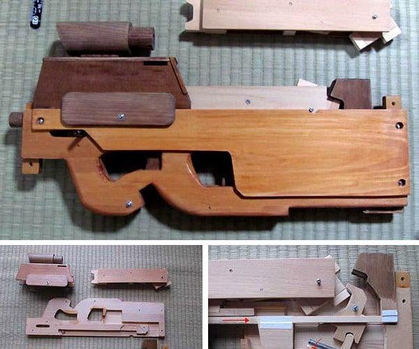 Wooden Rubber Band Submachine Gun: Elastics Gone Wild