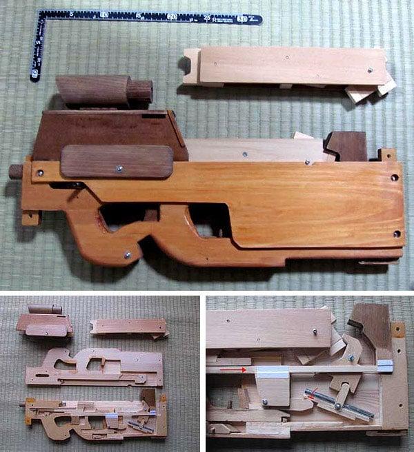 rubber band gun submachine fn p90 wood diy japan
