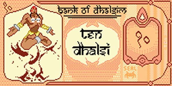 dhalsim pixel banknote by killermachine