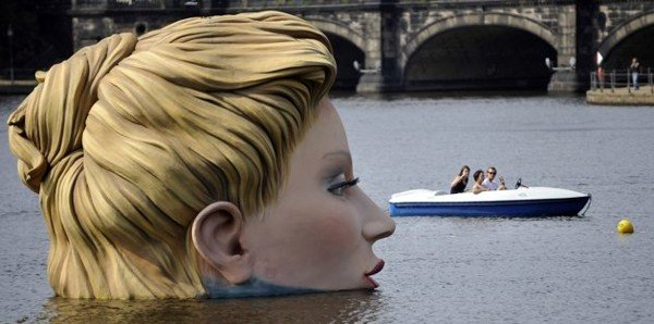 Hamburg's Alster Lake Giant Lady Statue