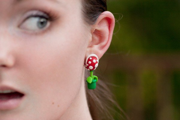 Super Mario Bros Piranha Earrings11