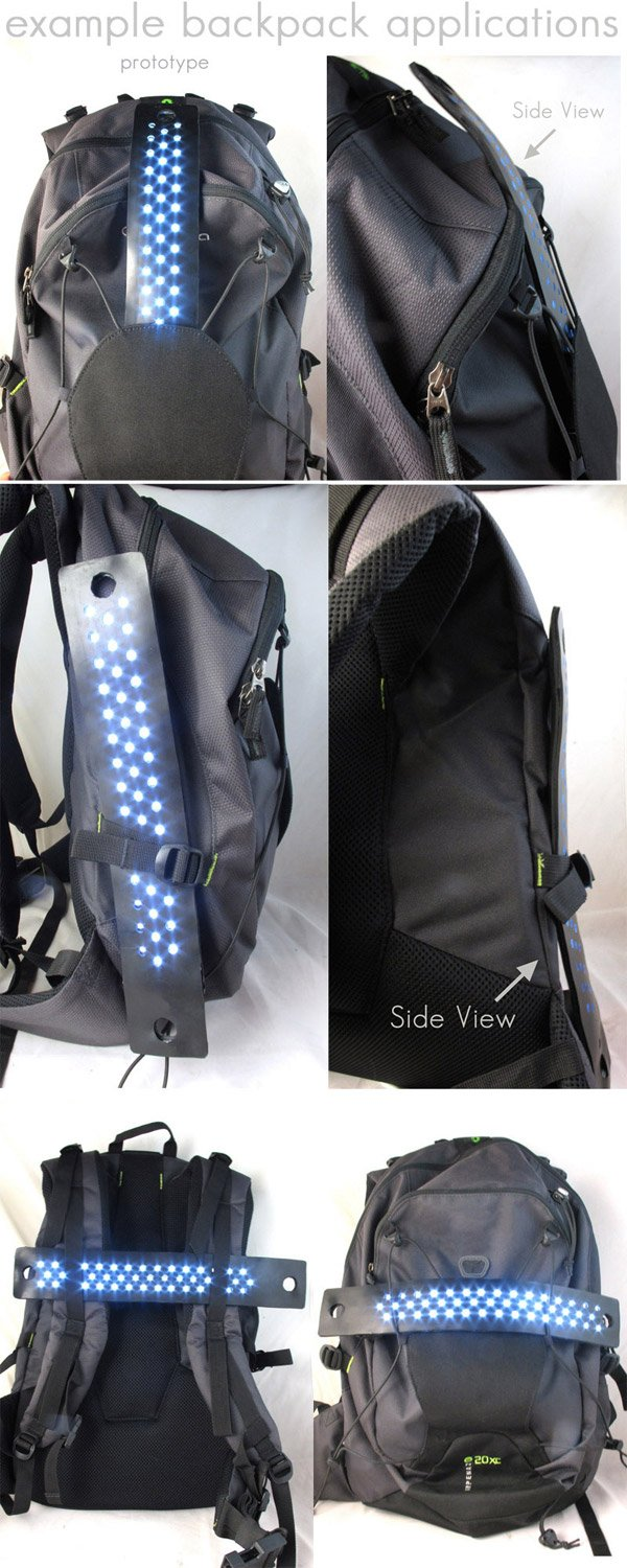 packlight flexible led light on backpack