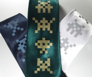 Swanky Space Invaders Silk Ties: Would You Trust an Alien Around Your Neck?