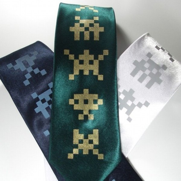 projector tie etsy space invaders retro geek style wear