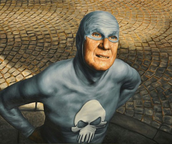 aging superhero andreas englund retired funny comical design