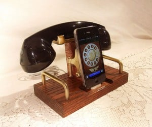 Steampunk iPhone Dock and Handset: The Past is Calling, Will You Accept the Charges?