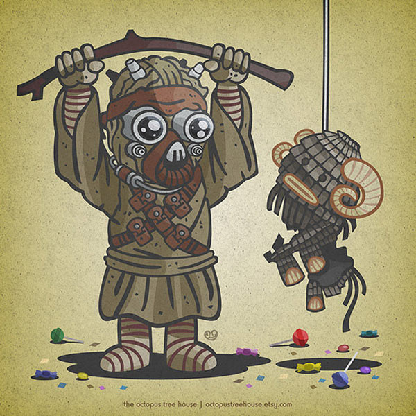 octopus treehouse star wars baddies kids fun prints retro