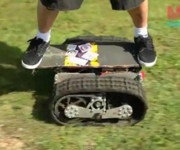 LANDBEARSHARK Motorized Skateboard with Treads: Another Way to Die?