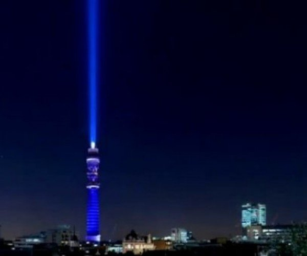 BT Tower Turned into World's Largest Lightsaber