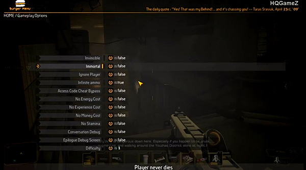 deus ex human revolution debug menu burger mod by gibbed