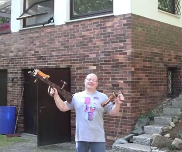 Joerg Sprave Shows off Finished Crossbow Slingshot and New Design