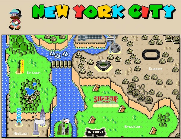 its an animated map of new york city done super mario world style complete with names of places and pixel versions of famous landmarks like the apollo