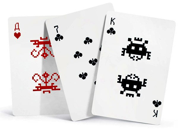 space invaders playing cards lebedev