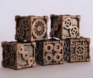 steampunk 6 sided dice by mechanical oddities 300x250