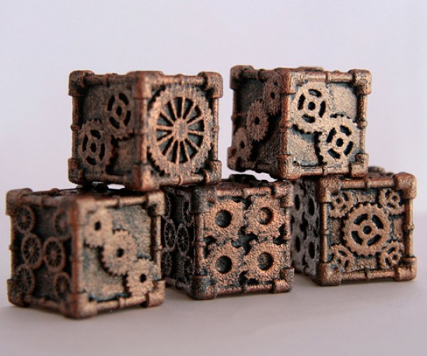 steampunk 6 sided dice by mechanical oddities