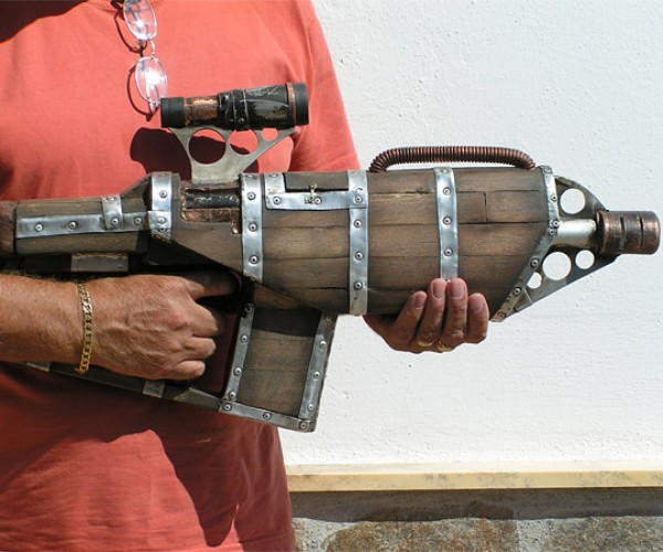 "Steampunk Wood ""Big Daddy"" Gun Fires NERF Darts"