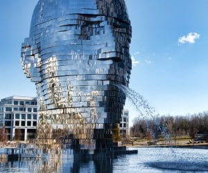 Metalmorphosis Mirrored Water Fountain Scultpure Looks Like a T-1000