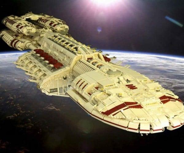 Giant 54-Pound LEGO Battlestar Galactica Spaceship Taunts Cylons
