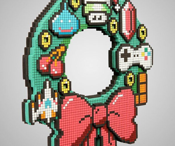 8-Bit Wreath: May Your Days Be Merry And Brightly Lit By LEDs