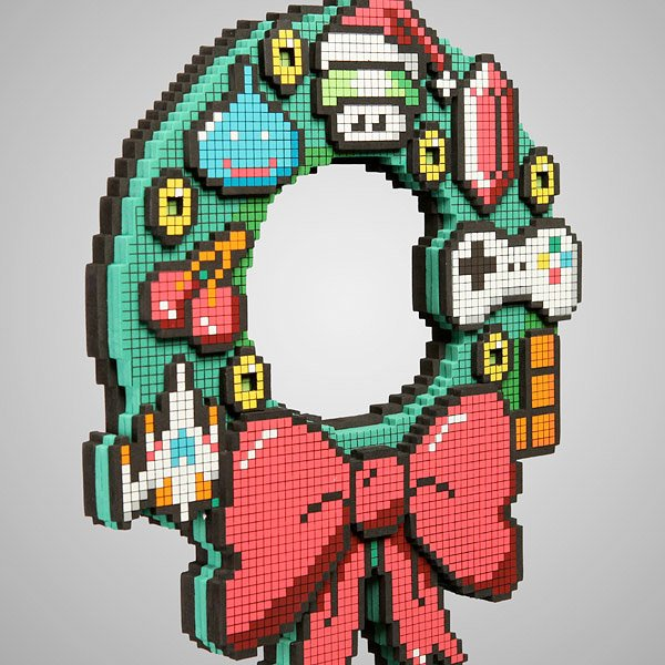 8 bit holiday wreath 1