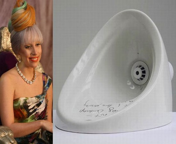 Lady Gaga Autographed Urinal