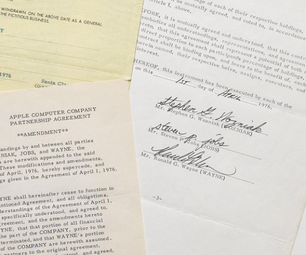Apple Founder's Contract Signed by Jobs, the Woz, and Ronald Wayne to be Auctioned