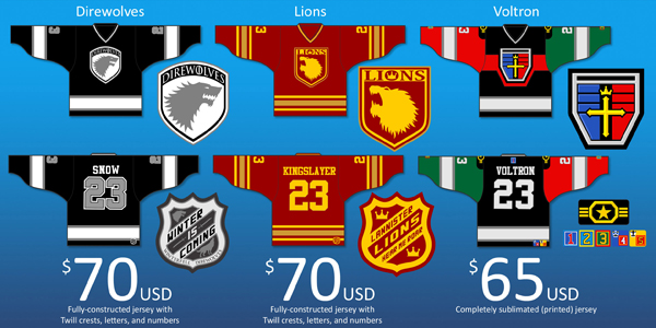 game of thrones voltron jerseys by dave's geeky ideas